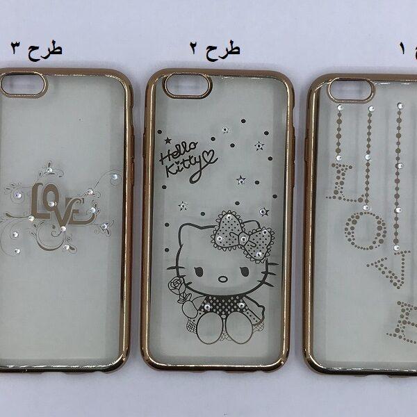 قاب ژله ای شفاف طلایی نگیندار دخترانه Apple iPhone 6/6s