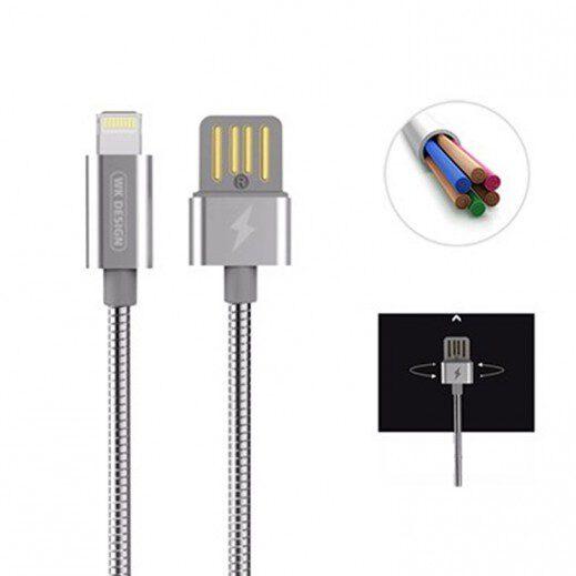 کابل اصلی تبدیل USB به اپل برای شارژ و انتقال فایل ایفون برند دبلیو کی دیزاین مدل WDC-039 به طول 1 متر