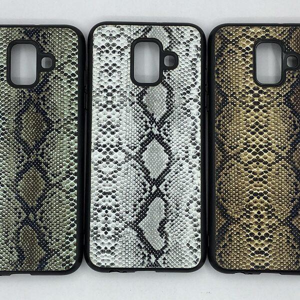 کاور قاب محافظ لاکچری سامسونگ ای 6 طرح پوست ماری Snake Skin Leather Case For Samsung a600 Galaxy A6