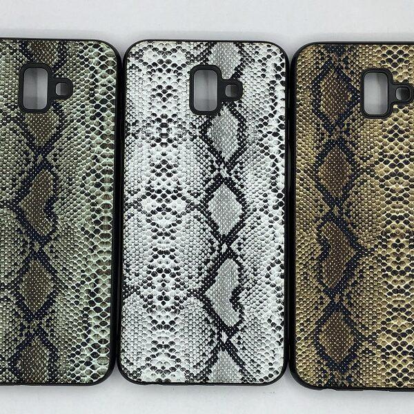 کاور قاب محافظ لاکچری سامسونگ جی 6 پلاس طرح پوست ماری مناسب Snake Skin Leather Case For Samsung J610 Galaxy j6 plus