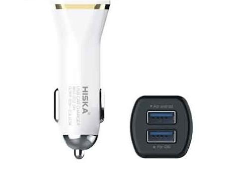 شارژر فندکی با کابل اصلی هیسکا مدل KLC25 دو پورت و خروجی 2.1 آمپر Hiska KL-C25 Dual USB Car Charger
