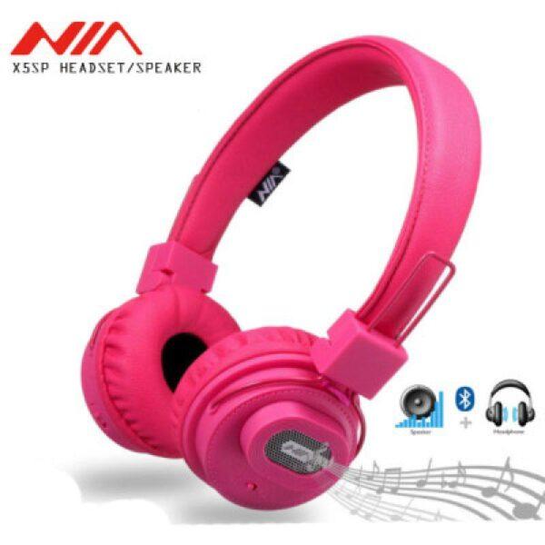 هدفون بلوتوث دار اسپیکر دار هدفون بی سیم مناسب گوشی موبایل سامسونگ ،ایفون،هواوی و شیائومی هدفون نیا NIA X5SP اورجینال هدفون دخترانه و پسرانه رم خور با اپلیکیشن هدفون صورتی ،مشکی،ابی و قرمز هدفون ایکس 5 اس پی نیا اصلی Original NIA X5SP Headset Wireless Speaker Stereo Bluetooth