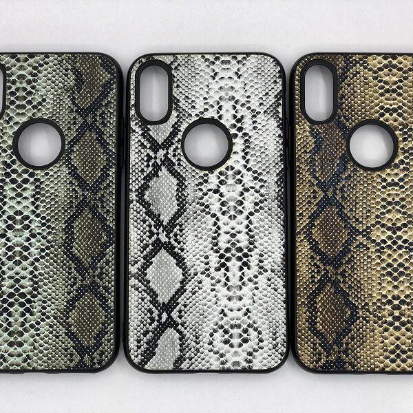 کاور قاب ایفون Xs محافظ لاکچری اپل ایکس اس ده طرح پوست ماری مناسب Snake Skin Leather Case For Apple Xs 10 Iphone 10