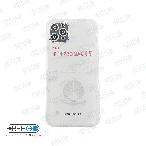 قاب آیفون 11 پرو مکس کاور ژله ای شفاف و بی رنگ  با محافظ لنز دوربین گوشی آیفون 11 پرو مکس اپل قاب Clear Cover Camera Lens Protector Case apple iphone 11 pro max