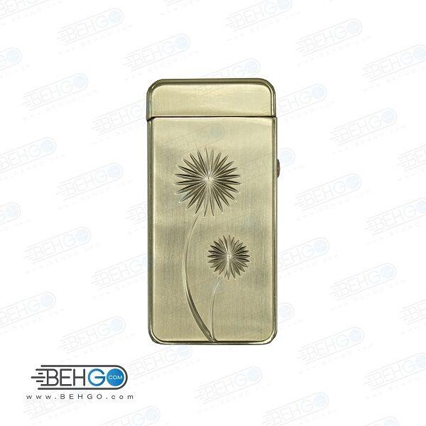 فندک صاعقه ای الکتریکی هنگ بنگ طرح گل طلایی Heng Bang Electronic Cigarette Lighter