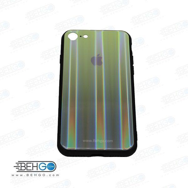 قاب ایفون هفت و هشت کاور آیفون 7 اپل 8 رنگی لیزری محافظ قاب آیفون گوشی Tempered Glass Laser Case apple iphone 7/iphone 8