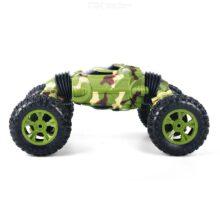 ماشین بازی شاسی بلند و خوابیده 2 حالته کنترلی صخره نوردی ماشین دیوانه 1086 Rechargeable 4 Channels Deformation Stunt Twisting Car Toy Car Green Color