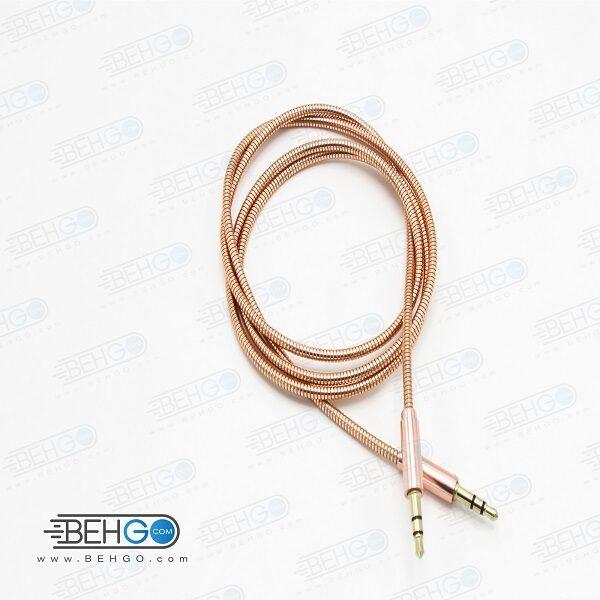 کابل AUX کابل انتقال صدا فلزی مناسب انتقال صدا از گوشی موبایل سامسونگ ،هواوی ،ایفون و سایر برندها به اسپیکر بلندگو  کد AUX Cable for Beats Headphones, Samsung, iPhone, Huawei Car Stereo code 6