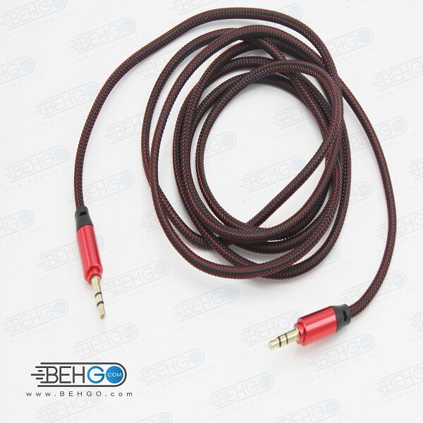 کابل AUX کابل انتقال صدا 2 متری سر فلزی مناسب انتقال صدا از گوشی موبایل سامسونگ ،هواوی ،ایفون و سایر برندها به اسپیکر بلندگو 2متری کد AUX Cable for Beats Headphones, Samsung, iPhone, Huawei, Car Stereo code 5