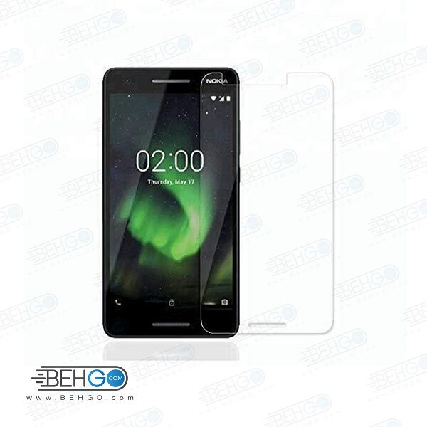 گلس نوکیا 2.1 بی رنگ و شفاف Nokia 2.1 یا ,نوکیا دو و یک محافظ صفحه نمایش شیشه ای Glass Screen Protector Nokia 2.1