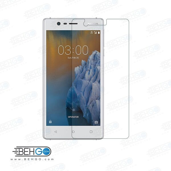 گلس نوکیا 3 بی رنگ و شفاف Nokia 3 یا ,نوکیا سه محافظ صفحه نمایش شیشه ای Glass Screen Protector Nokia 3