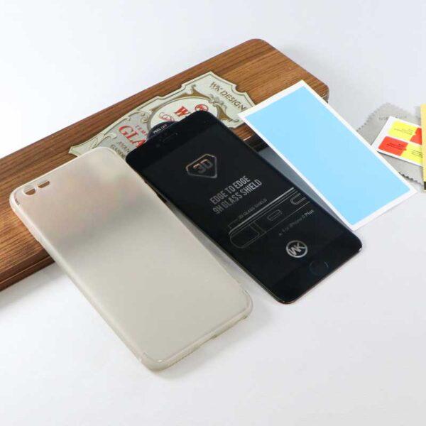 قاب ژله ای و گلس سه بعدی همراه با هم مناسب آیفون 7 پلاس اپل 8 پلاس برند دابلیو کی WK Avant Garde Trend Tempered Glass For Apple iPhone 8 plus/ iphone 7plus