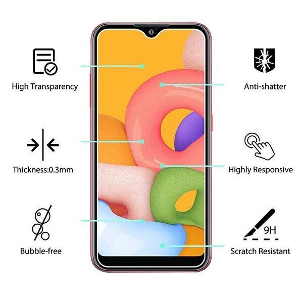 گلس A01 سامسونگ A01 محافظ صفحه نمایش شیشه ای ا01 تمام چسب گلس ای 01 سامسونگ Full Glue Glass Samsung Galaxy A 01 / A01 / A015