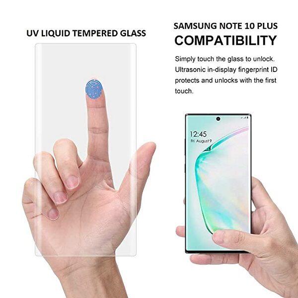 بهترین گلس گوشی سامسونگ نوت 10 پلاس محافظ صفحه نمایش شیشه ای سامسونگ نوت ده پلاس تمام صفحه Note 10 Plus با پوشش کامل مدل یو وی UV Nano Glass For Samsung Galaxy Note10 Plus / Note 10 Plus