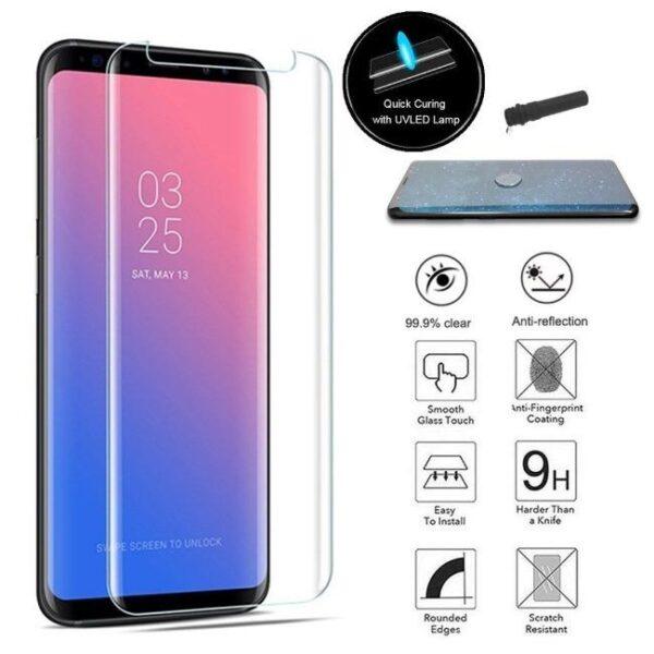 بهترین گلس گوشی سامسونگ S8 محافظ صفحه نمایش شیشه ای سامسونگ اس 8 تمام صفحه با پوشش کامل مدل یو وی UV Nano Glass For Samsung Galaxy S8