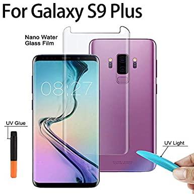 بهترین گلس گوشی سامسونگ S9 Plus محافظ صفحه نمایش شیشه ای سامسونگ اس 9 پلاس تمام صفحه اس نه پلاس با پوشش کامل مدل یو وی UV Nano Glass For Samsung Galaxy S9 Plus
