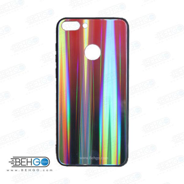 کاور Huawei P smart لیزری رنگی محافظ هواوی پی اسمارت قاب هواوی پی smart مدل لیزری گارد گوشی Tempered Glass Laser Case Huawei Psmart