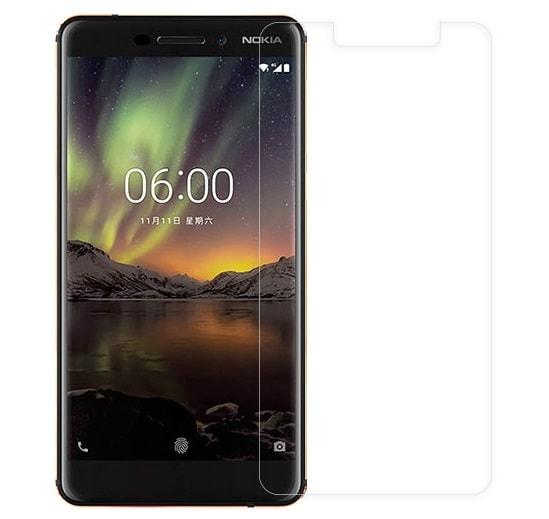 گلس نوکیا 6.1 بی رنگ و شفاف نوکیا6.1 محافظ صفحه نمایش شیشه ای Glass Screen Protector Nokia 6.1