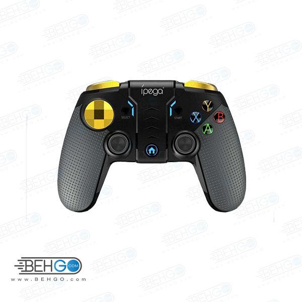 دسته بازی گوشی موبایل پاب جی آی پگا مدل PG-۹۱۱۸ مناسب گوشی برند آی پگا مدل PG-9118 مناسب برای بازی موبایل iPega 9118-PG black warrior Wireless Game Controller For PUBG