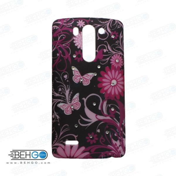 قاب طرح دار گوشی الجی جی 3 مینی LG G3 mini طرح گل و پروانه صورتی case For LG G3 mini