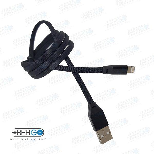 کابل شارژ آیفون مدل کنفی مشکی مناسب لایتنینگ 1m Hemp Charging Cable charge lightning cable