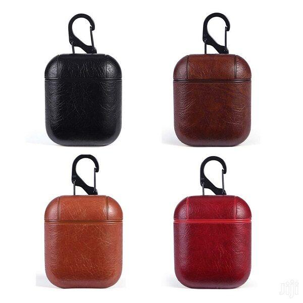 کاور ایرپاد قاب مدل چرمی کیس مناسب ایرپاد 1 و 2 اپل Leather airpod cover