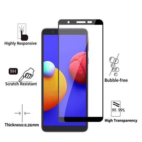 گلس گوشی سامسونگ A01 Core مدل فول محافظ صفحه نمایش شیشه ای A01Core تمام چسب گلس  Full Glue Glass Samsung Galaxy A01 Core