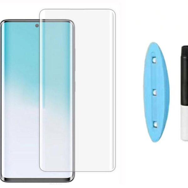 بهترین گلس گوشی سامسونگ S20 plus محافظ صفحه نمایش شیشه ای سامسونگ اس 20 پلاس تمام صفحه s20 plus با پوشش کامل مدل یو ویUV Nano Glass For Samsung Galaxy S20 plus