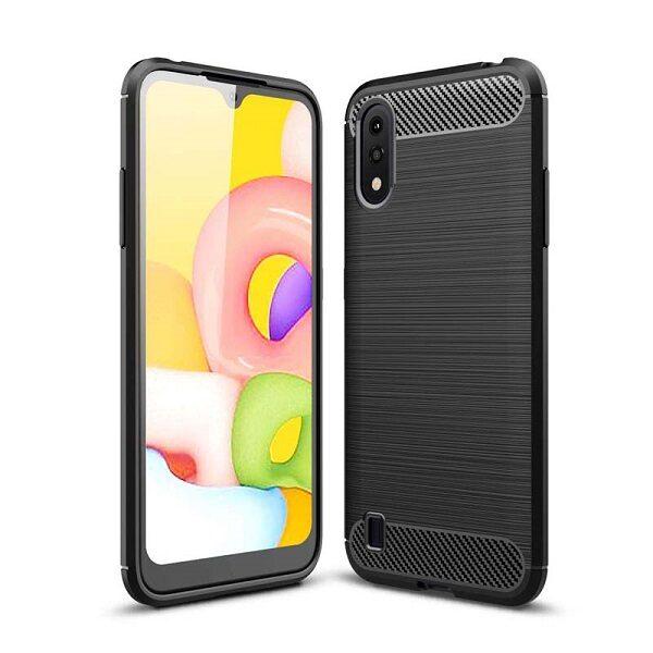 قاب محافظ A01 ژله ای سامسونگ Samsung Galaxy A 01 / A015 Rugged Armor Fiber Carbon A01