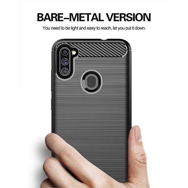 قاب محافظ A11 ژله ای سامسونگ Samsung Galaxy A 11 / M 11 Rugged Armor Fiber Carbon A11/M11