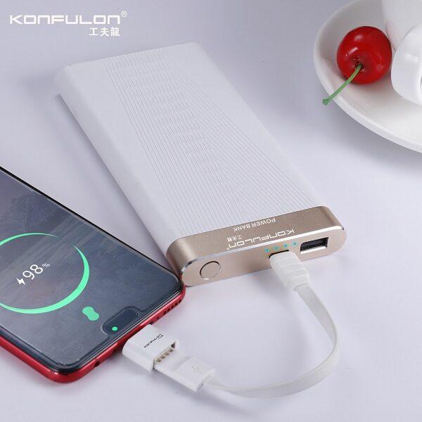پاوربانک 10000 کانفلون مدل X6P ظرفیت ۱۰۰۰۰ میلی آمپر شارژر همراه مناسب گوشی موبایل و تبلت سازگار با سامسونگ ،ایفون،هواوی و شیائومی Konfulon X6P Best Power Bank