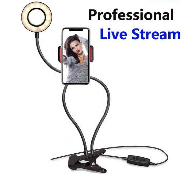 رینگ لایت چراغ مطالعه و پایه نگهدارنده موبایل مناسب سلفی و ساخت استوری و لایو اینستاگرام رینگ لایت گوشی مدل professional live stream