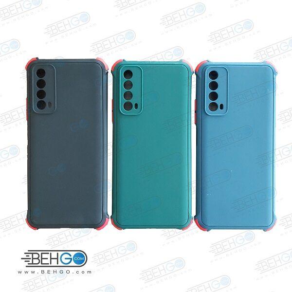 قاب هواوی Y7A کاور مدل ژله ای دکمه رنگی محکم ضد ضربه با محافظ لنز دوربین گوشی وای Y7A گارد محافظ قاب Camera Cover color key Case for Huawei Y7A