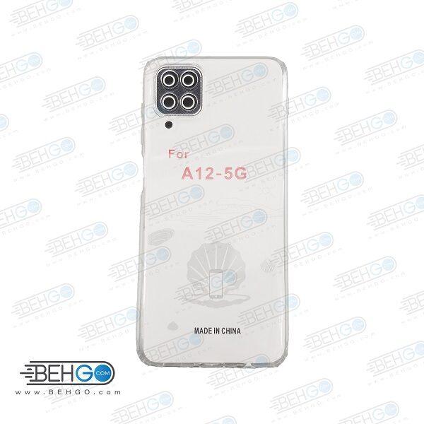 قاب گوشی A12 کاور A12 قاب ژله ای شفاف و بی رنگ با محافظ لنز دوربین گوشی موبایل سامسونگ Clear Cover Camera Protection Case For Samsung Galaxy A12