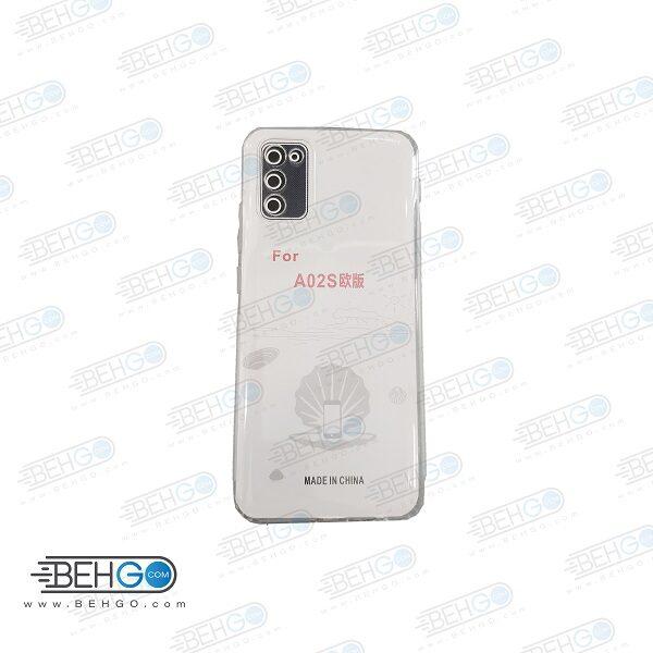 قاب A02s کاور ژله ای شفاف و بی رنگ با محافظ لنز دوربین گوشی سامسونگ Clear Cover Camera Protection Case for samsung A02S