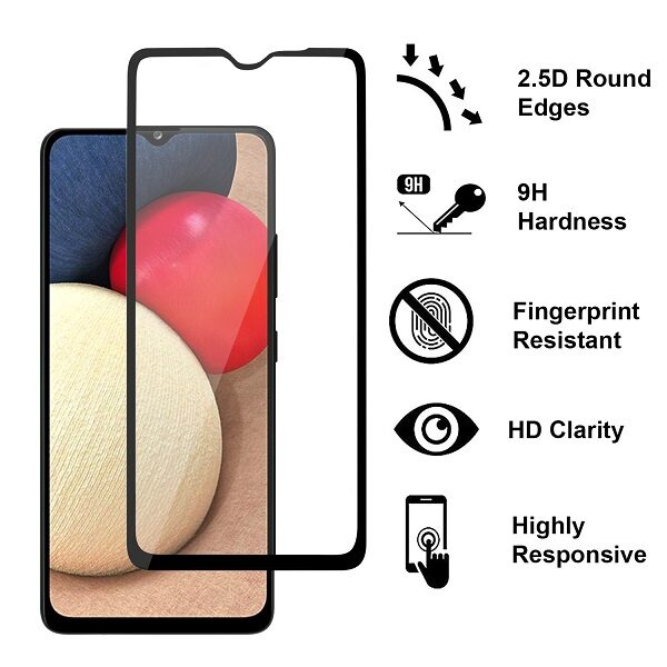 گلس A022 گلس گوشی سامسونگ A022 تمام صفحه شیشه ای گلس محافظ صفحه سامسونگ Full tempered glass for Samsung A02