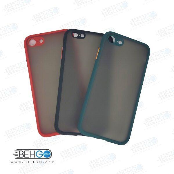 قاب آیفون 7/8/SE 2020 و ایفون SE 2020 محافظ دور سیلیکون رنگی پشت مات محافظ لنز دوربین کاور آیفون Fashion Case Apple Iphone 7/8/SE 2020