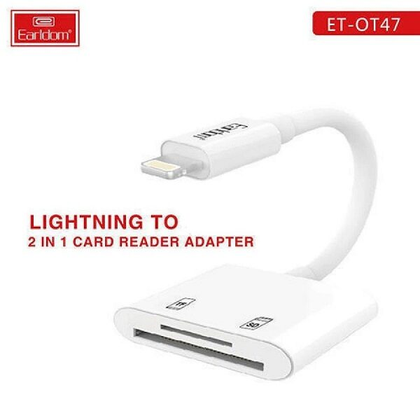 تبدیل لایتنینگ به کارت حافظه تبدیل مموری به اپل برای وصل کردن رم به گوشی ایفون مدل ارلدام Earldom ET-OT47 Lightning to 2 in 1 Card Reader Adapter Micro SD & SD
