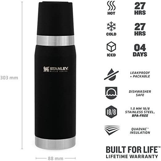 فلاسک کوهنوردی استنلی مدل مستر بطری ترمال باتل حجم ظرفیت 750 میلی لیتری با ارسال رایگان Stanley Master Unbreakable Thermal Bottle 750ML