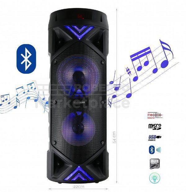 اسپیکر ایستاده با ریموت کنترل و میکروفون اسپیکر بلوتوثی قابل حمل مدل ZQS-6201 بلندگوی بزرگ اصلی با کیفیت Portable Bluetooth speaker system ZQS 6201 speaker with mic