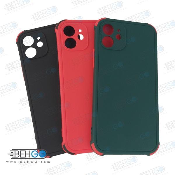 قاب ایفون 12 کاور مدل ژله ای دکمه رنگی محکم ضد ضربه با محافظ لنز دوربین گوشی ایفون 12 سایز 6.1 اینچ گارد محافظ قاب Camera Cover color key Case for Apple IPhone 12