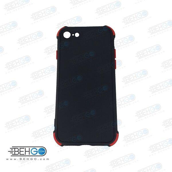 قاب ایفون 7 و ایفون 8 کاور مدل ژله ای دکمه رنگی محکم ضد ضربه با محافظ لنز دوربین گوشی ایفون 7/8 گارد محافظ قاب Camera Cover color key Case for Apple Iphone 7 / Iphone 8 / Iphone SE 2020