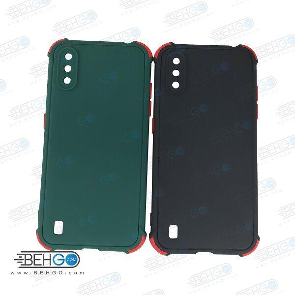 قاب سامسونگ A01 کاور مدل ژله ای دکمه رنگی محکم ضد ضربه با محافظ لنز دوربین گوشی A01 گارد محافظ قاب Camera Cover color key Case for Samsung A01