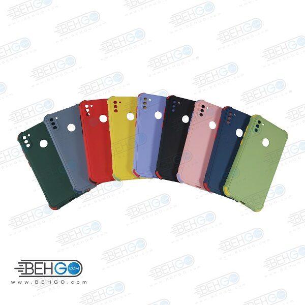 قاب سامسونگ A11 و M11 کاور مدل ژله ای دکمه رنگی محکم ضد ضربه با محافظ لنز دوربین گوشی A11 گارد محافظ قاب Camera Cover color key Case for Samsung A11