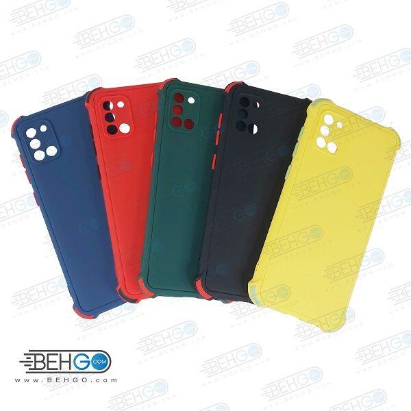قاب سامسونگ A31 کاور مدل ژله ای دکمه رنگی محکم ضد ضربه با محافظ لنز دوربین گوشی A31 گارد محافظ قاب Camera Cover color key Case for Samsung A31
