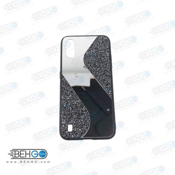 قاب گوشی A01 قاب فانتزی سامسونگ A01 گارد مدل جدید اکلیلی آینه ای مناسب گوشی موبایل سامسونگ New Mirror glitter case For Samsung Galaxy A01
