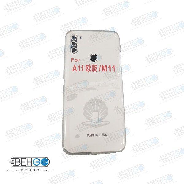 قاب گوشی A11 کاور A11 قاب ژله ای شفاف و بی رنگ با محافظ لنز دوربین گوشی موبایل سامسونگ Clear Cover Camera Protection Case For Samsung Galaxy A11