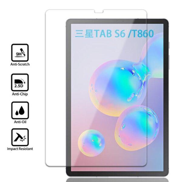 گلس تبلت سامسونگ S6  گلس تب اس 6 صفحه نمایش شیشه ای تبلت Tempered Glass for Tablet Samsung Galaxy Tab S6 (2019) SM-T860/T865