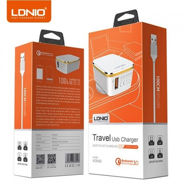 شارژر دیواری اصلی برند الدینیو مدل A1204Q به همراه کابل تایپ سی اورجینال مناسب تبلت و گوشی موبایل تایپ سی LDNIO A1204Q Travel Charger with Type-C USB Cable