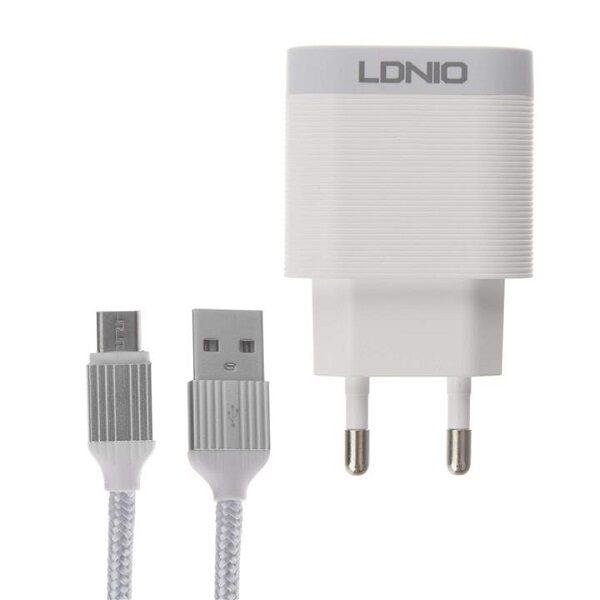 شارژر دیواری اصلی برند الدینیو مدل LDNIO A303Q به همراه کابل اندروید میکرو اورجینال مناسب تبلت و گوشی موبایل LDNIO Qualcomm 3.0 Travel Companion Quick Charger A303Q with Micro USB Cable